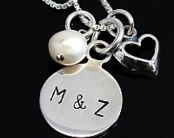 Monogrammed Sterling Silver Necklace, Stamped Necklace with Charm