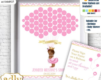 African Princess Guest Book Printable Alternative and African Princess Wall Art for Baby Princess  Shower DIY Pink Gold  Chevron-ao136bBP27