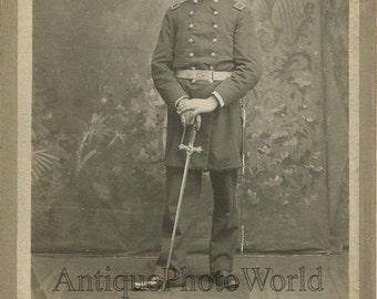 Handsome man soldier officer in great uniform w sword antique photo Milwaukee WI