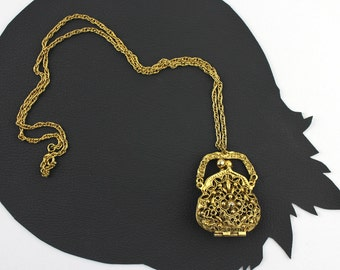 Gold Metal Purse Shaped Scent Locket Necklace