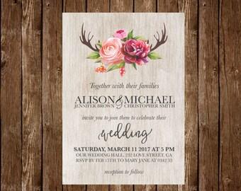 Rustic wedding invitation, Floral Wedding Invitation, Boho Woodland Wedding, Printable Wedding Invitation, Antler Wedding watercolor wedding