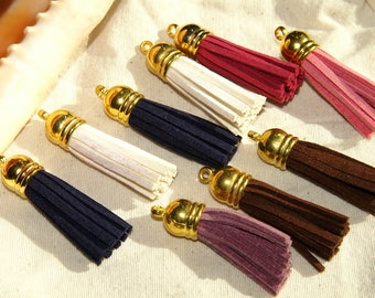 Tassels of different colors and Golden 0.4X0.1 mm Sueded