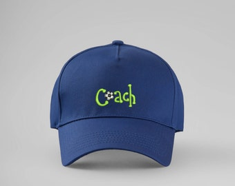 Coach Cap Embroidered Cap Baseball Cap Embroidered Hat Football Soccer Coach Hat Sports Gift for Him Sports Cap Sports Hat PA2034