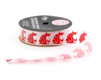 "7/8""  Washington State University Cougars Ribbon, Licensed NCCA ribbon  Offray College Ribbon - 9 feet"