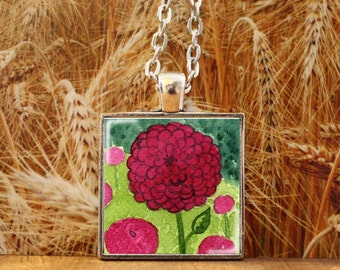 Art Pendant -- Watercolor Painting: Watercolor Flower Painting - Pink Flowers -- Pink Zinnias -- 1 inch square -- Silver