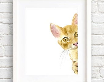 Orange Tabby Cat - Art Print - Nursery Art - Wall Decor - Watercolor Painting