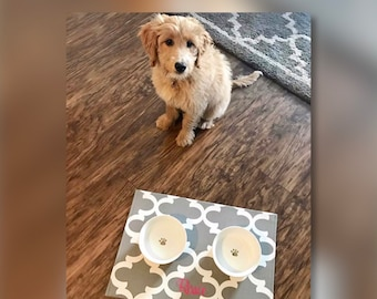 Personalized Pet Placemat  |  Grey Quatrefoil Dog Bowl Mat |  Best Custom Puppy Dog Gifts by Three Spoiled Dogs
