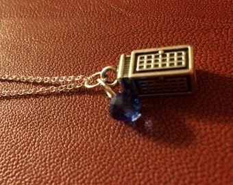 Tardis Necklace -- Doctor Who -- Tardis Blue Police Box