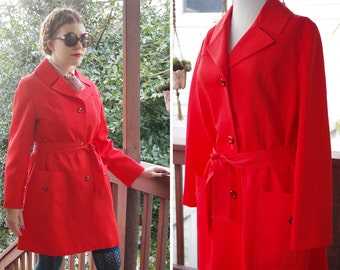 BRIGHT Red 1960's 70's Vintage MOD All Weather Belted Raincoat Jacket // size Medium // by PIER 4 David of Boston