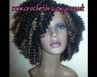 Crochet braid wig - Handmade, black with honey blonde highlights