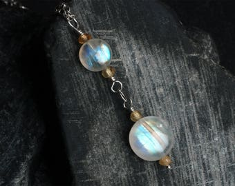 Moonstone Necklace - Moonstone Jewelry - Rainbow Moonstone Necklace - Sterling Silver Necklace - Hessonite Garnet - CircesHouse