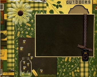The Great Outdoors - 12x12 Premade Scrapbook Page - Catching Fireflies