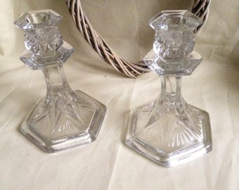 Pair of Cut Glass - Candlestick Holders - Candle Stick Stands - Glassware Glass ornament decoration