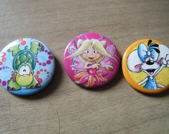 set of 3 pins / badges Diddl, blue, orange and fuschia