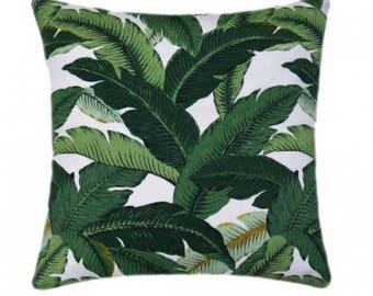 Outdoor Green Pillow Cover, Green Pillow, Leaf Pillow, Decorative Pillow, Palm Accent Pillow, Green Tropical Cushion, Tommy Bahama Pillow,