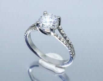 499 Split shank micro-pave round diamond engagement ring for 1.2-1.5 ct diamond.