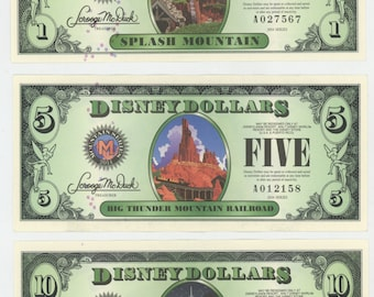 3 Disney Dollars, Mountains,  getting Very Rare. No longer made, Uncirculated, Mint Condition.  174a