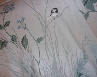 Vintage Pequot Blue Chickadee Twin Sheet and Pillowcase Set
