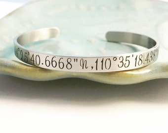 Stainless Steel ~ Custom Hand Stamped  ~ Coordinates ~ Latitude Longitude Cuff Bracelet ~ Personalized ~ Quote ~ Inspirational ~ Affirmation