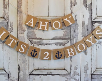 Ahoy It's 2 Boys baby shower banner, nautical theme, baby shower, TWINS BANNER, baby shower decorations, nursery decoration, baby banner