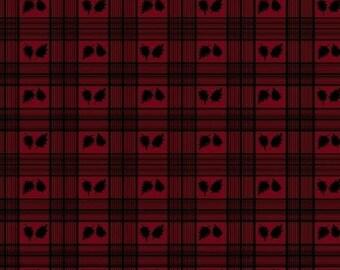 SALE!! - Fat Quarter Cabin Fever - Leaf Plaid in Red - Cotton Quilt Fabric - Windham Fabrics - 35320-1 (W115)