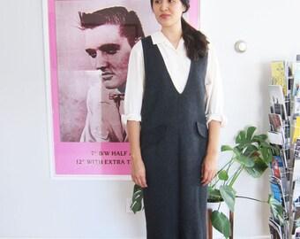 90s pinafore dress - 90s charcoal jumper maxi dress - 90s minimalist - overall dress - minimalist dress - 90s gray maxi dress S M