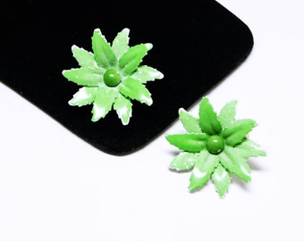 Vintage Enamel Green Flower Earrings - Reuse - Recycle - Repair - Clip on Design - 1960's - 1960's Mid Century Mod Earrings