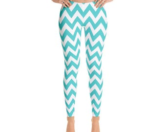 Leggings, Aqua Chevron Pattern Leggings, Capri Leggings, Yoga Pants, Ankle Length Leggings, Adult Sizes XSmall, Small, Med, Large and XLarge