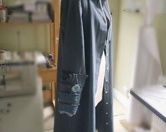 Hooded Denim Jacket with Handmad detail & beaded sleeves.