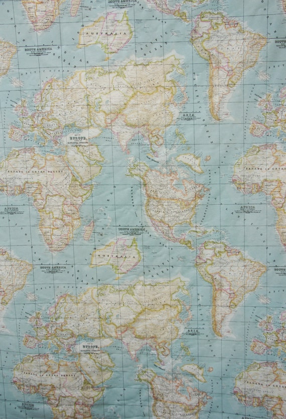 World map fabric craft fabric america africa europe asia half world map fabric craft fabric america africa europe asia half a yard from joorcreates on etsy studio gumiabroncs Image collections