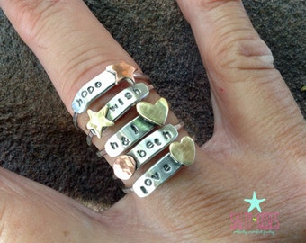 Sterling silver Mixed metal fun funky whimsical lil' stackers rings Personalized hand stamped jewelry stack stacking stackable