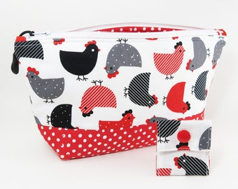 """Knitting Project Bag - NEW!  """"Black and Red and Gray Chickens"""" Zippered Large Notions Wedge Bag;  PERFECT for a Swap Package! (V)"""