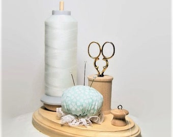 "The ""Thready"", Wooden Spool Holder with Mint Green & White Pincushion, Thread Holder, Scissor Holder, Thread Stand, Bobbin Holder"
