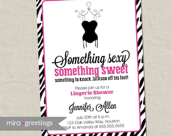 Zebra Pink Lingerie Shower Invitation - Printable Digital File