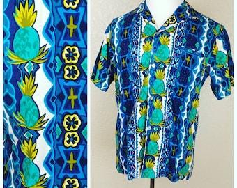 Sale *** MEMORIAL DAY SALE Vintage Pineapple Tropicana Tiki Hawaiian Shirt