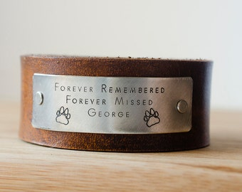 Forever Remembered Forever Missed Pet Memorial Leather Cuff with Custom Name