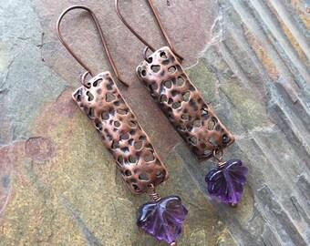 Hammered copper earrings, purple amethyst Czech glass leaf earrings, maple leaf, purple glass