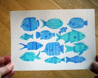 Fish Watercolour, Fish Wall Decor, Fish Art, Blue Fish, Bathroom Wall Art, Home Decor Wall Art, Kids Room Art, Original Painting