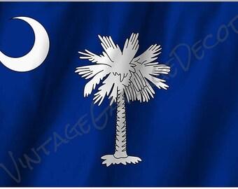 South Carolina State Flag on a Metal Sign