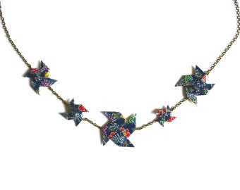 Necklace Origami Pinwheels Dark blue