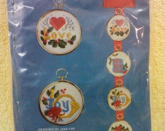 Kit- Love/Joy, Les Petites, Set if 4, Frame Hoops, Counted Cross Stitch,# 5471 By Cathy Needlecraft, Vintage