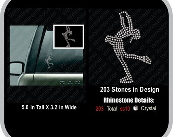 Ice Skater Rhinestone Car Decal