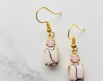 Vintage opaque pale pink and black octogon glass earrings