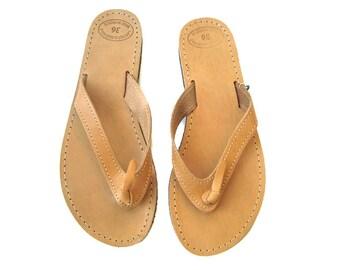 Womens sandales, en cuir flip tongs, sandales grecques, sandales en cuir, sandales en cuir grec, sandales en cuir marron, appartements d'été