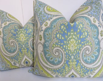 Kravet Pillow Cover  - Green Kravet Pillow - Aqua Green Pillow - Latika Pillow Cover - Kravet Pillow - Latika Pillow - Light Blue Pillow