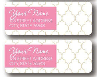 Moroccan Return Address Labels - PINK AND GOLD