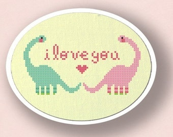 Dino Love. Modern Simple Cute Counted Cross Stitch Pattern PDF File. Instant Download