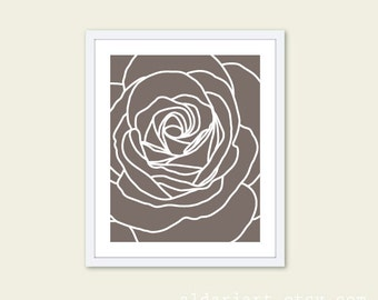 Rose  Art Print  - Taupe Brown and White Modern Flower Wall Art - Home Decor - Modern Rose Poster - Mothers Day Art Gift Under 20