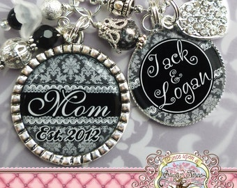 Personalized Mother Necklace, Mother's Day Gift, Mom Jewelry, Black White Damask, Children's Names, Gifts for Grandma, Nana Necklace, Mimi