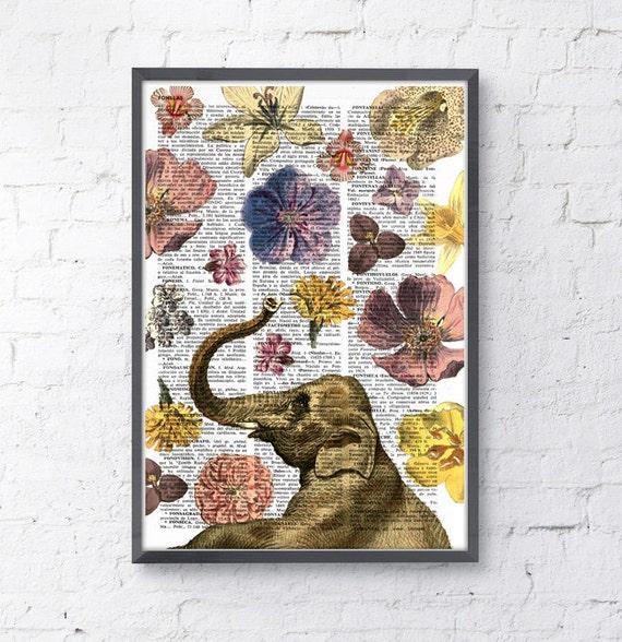 Elephant in love shower of flowers- Elephant art print- Elephant decor ANI231